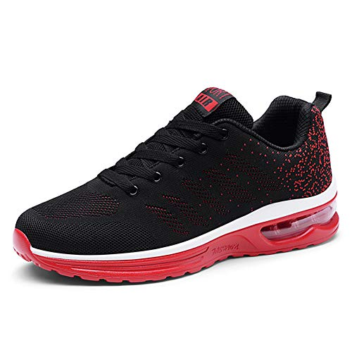 Axcone Homme Femme Air Baskets Chaussures Outdoor Running Gym Fitness Sport Sneakers Style Running Multicolore Respirante-886 Rouge Noir 40