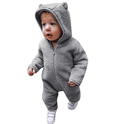 MRULIC Säugling Baby Playsuit Mädchen Jungen Overall Walkanzug Herbst und Winter Langarm Flauschig mit Kapuze Pullover Jumpsuit Outfits Outwear Babysachen(Grau,105-110CM)