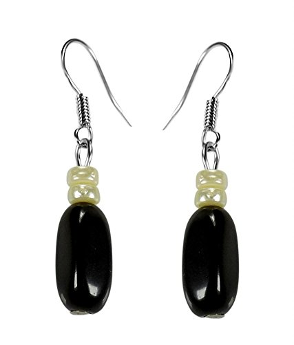 CRYSTAL & BEADS Onyx Black Colour Oval Moonball & White Colour Pearl Earring