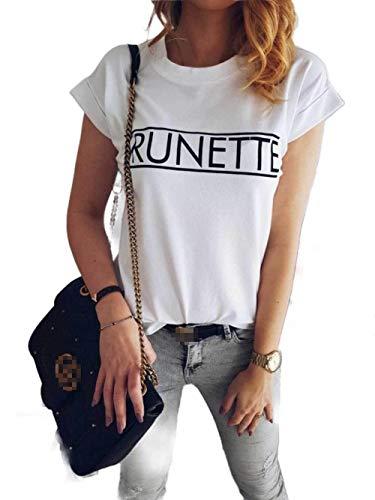 CuteRose Women Short Sleeve Simple Casual Leisure Tees Top Summer T-Shirts White S Banana Republic Band