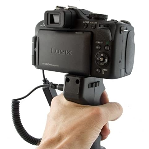 JJC - Disparador con empuñadora de pistola para Panasonic Lumix DMC-GF-1, GH1, G2, GH2, GH2H, GH2K, G3, GH3, G5, FZ25, FZ30, FZ50, FZ100, FZ150, FZ200, LC-1, L10, Leica Digilux 2 y Digilux 3