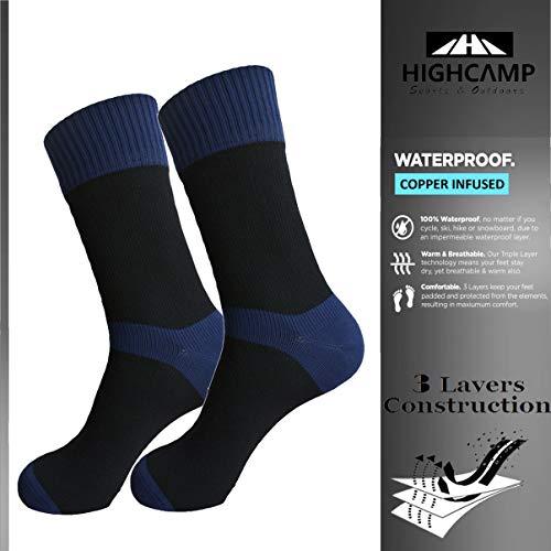 Highcamp Wasserdichte Socken für Herren & Damen Kupfer Kissen Crew Radfahren, Laufen, Wandern Stiefel Socken, Damen, Navy, Small