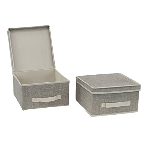 2er Set Aufbewahrungsbox Sortierbox Faltbox mit Deckel und Beschriftungsfenster - Kleiderschrank Organizer Organisationssystem Aufbewahrung Kiste (M)