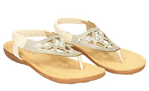Heidi pour femme Mesdames Diamante à talon plat vacances Tenue Habillée de faible talon Wedge Sandales Taille 3–9- SwankySwans Blanc - blanc