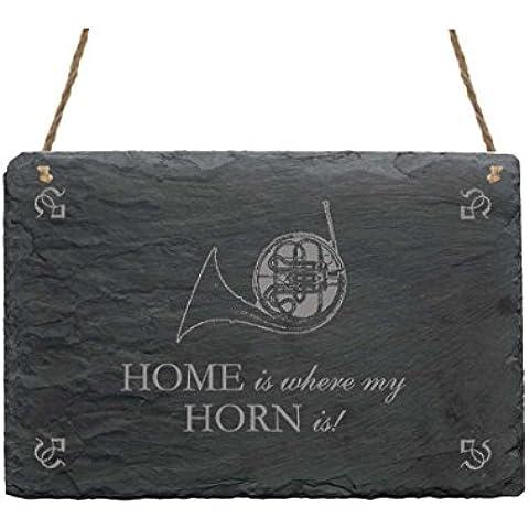 Ardesia Targa « Home is where my horn is » con motivo targhetta decorativa decorazione e regalo musica corno corno postale, caccia Horn