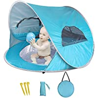 Aappy Baby Beach Tent with Built-in Pool, Infant Pop up Tent with 2 Mesh Side Windows, 2 Side Pockets, UPF 50+ Sun Shade Shelter with Rear Zipper Panel for Aged 0-3, Fits 1-2 Children(Blue)