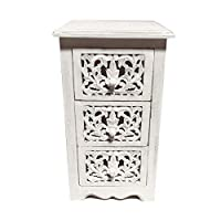 topfurnishing Natural Hand Made Indian Mango Wood 3 Drawer Storage Unit Bedside Table