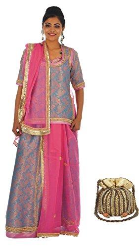 Geroo women Rajputi Brocade lehenga ( Poshak ) with Pink Silk border  available at amazon for Rs.21154