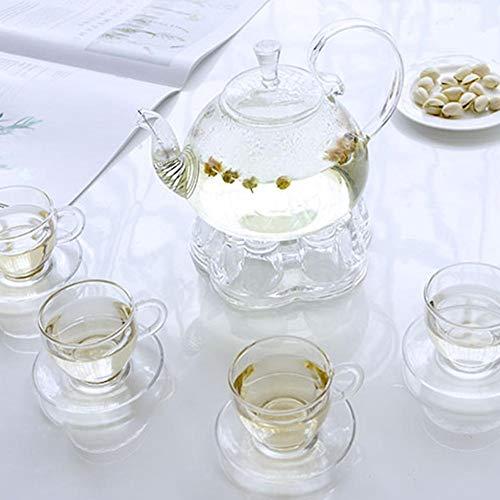 SinceY Hitzebeständiger Glas Herzform Tee-Wärmer Stand Kristall Elegantes Teekanne Kaffee Wasser Stövchen Heizung Tee-Zubehör, Kristallglas Stövchen Stabile Halterung Für Teelichtständer Für Teekanne
