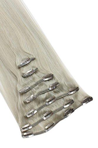 Clip-In clip in 7 Tressen Remy Echthaar Verlängerung 55cm 70g Extensions grau grey hairs