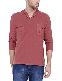 ARISE Regular Fit Men's Hooded Sports T-shirt for Men - Casual Men's Tees - Red