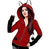 Jaysis Damen Fox Ohren Mit Kapuze Sweatshirts Frauen Langarm Mantel Herbst Hoodie Jacke (XXL, Wein Rot)
