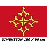 *** PROMOTION *** Drapeau Occitanie Languedoc Midi Pyrénnées - 150 x 90 cm (Uniquement chez le vendeur PLANETE SUPPORTER = 100% conforme à l'image)
