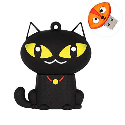 H&T Niedliches Tier Schwarz Cartoon-Katze-Form USB-Flash-Laufwerk, Memory Stick Lustige Pen Drive-Daumen-Antrieb Für Kind-Foto-Bild High Speed   Externer Speicher,32gb