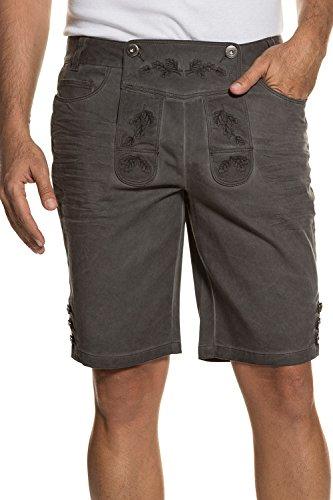 JP 1880 Herren große Größen bis 70 | Trachten-Bermuda | Twill-Hose aus Baumwolle | 5-Pocket, Reißverschluss | dunkelbraun, grau, bestickt | grau 56 711382 (1880 Kostüm)
