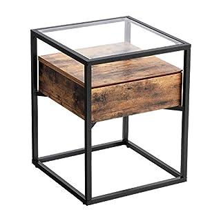 VASAGLE Nachttisch im Industrie Design, Beistelltisch, Nachtkommode, Glastisch mit Schublade, Sofatisch, Lounge Foyer, Vintage stabil LET04BX