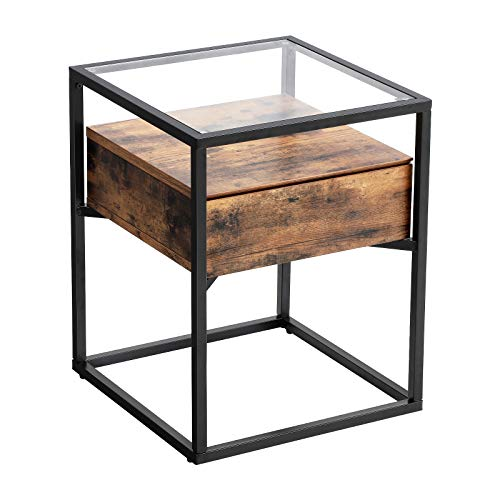 VASAGLE Nachttische im Industrie Design, Beistelltisch, Nachtkommode, Glastisch mit Schublade, Sofatisch, Lounge Foyer, Vintage stabil LET04BX -
