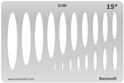 15cm x 10cm Normographe Plastique Transparent Trace Gabarit de Dessin Conception Graphique Art Artisanat Fabrication Bijoux Illustration - 15 Degrés Ellipse Ellipses Ellipsis Ovale Symboles