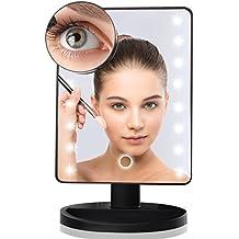 Espejo Cosmético Maquillaje con Pantalla Táctil y 16 LEDs, Aumento 10x, Funciona con Pilas, 360° de Rotación, para Cosmético, Afeitado(negro)