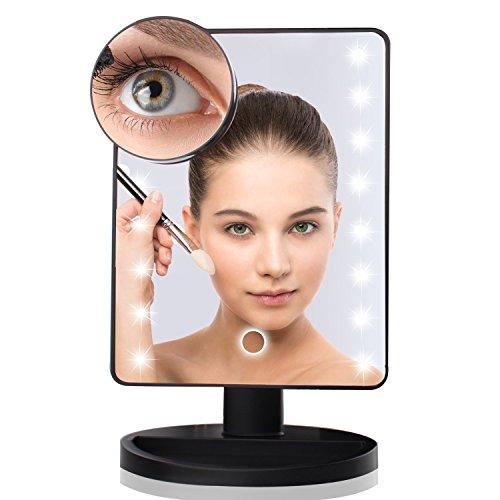 Espejo-Cosmtico-Maquillaje-con-Pantalla-Tctil-y-16-LEDs-Aumento-10x-Funciona-con-Pilas-360-de-Rotacin-para-Cosmtico-Afeitadonegro