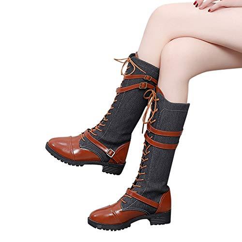 MYMYG Damen Schuhe Denim Roman Reiten Kniehohe Cowboy Stiefel Lange Stiefel PU Herbst & Winter...