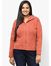 GRAIN Red Regular Collar Cotton Solid Jackets for Women