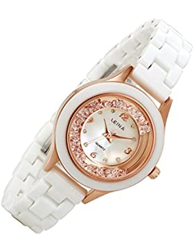 lancardo Mädchen Rose Gold Ton Fall Weiß Keramik Band Seashell Zifferblatt Armbanduhr (2)