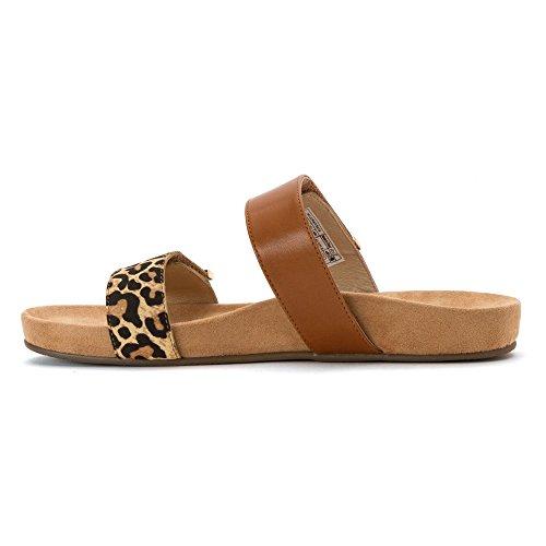 Vionic Womens Grace Jura Leather Sandals Tan Leopard