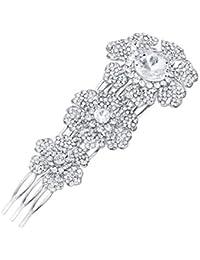 Flyonce - Pasador de Pelo con Diamantes de imitación Plateados para Novia 7ac91fb3290a