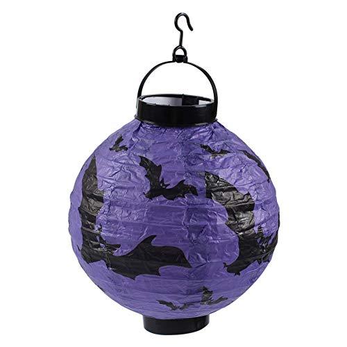 Dastrues Halloween Requisiten Papierlaterne Faltbar LED Lampe Wandbehang Wohndeko Spinne/Fledermaus/Totenkopf/Schloss Licht - Lila Fledermaus (Lila Fledermaus Lichter Halloween)