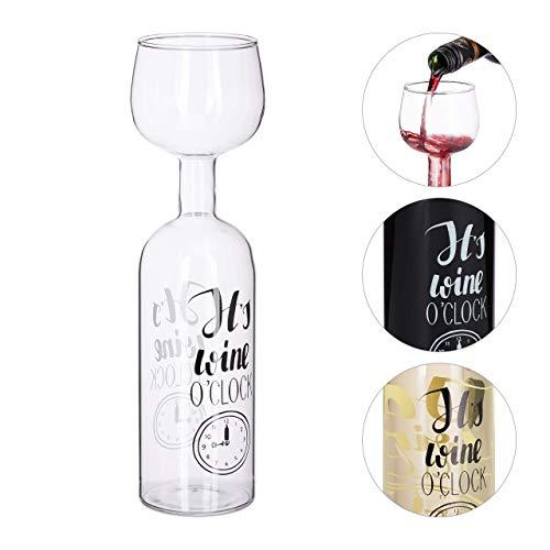 Relaxdays Weinflasche Glas, XL Weinglas mit Spruch, Fun Geschenk für Weinliebhaber, Weinflaschenglas 750 ml, transparent