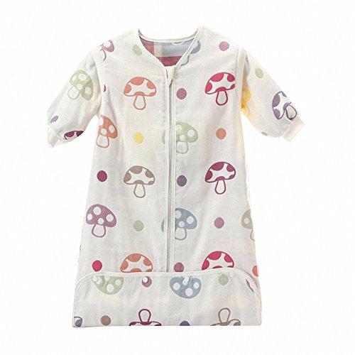 Gigoteuse bébé Manches Longues -garcon -Fille pyjama enfant toutes saisons confort combinaison à pieds Six couches de gaze(Blanc) (L:85-95CM(12- 24 mois), Champignons)