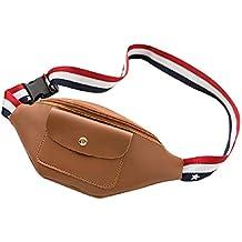 Zilosconcy Bolso de la Cintura Bandera Cinta Color sólido Cremallera Vertical Bolsillo de la Cintura Bolso