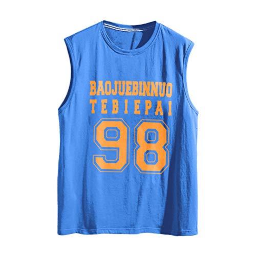 DQANIU ⭐⭐ T-Shirts Tops für Herren, Ärmelloser Muskeldruck Bodybuilding Fitness Fest trocknende Weste übersteigt Blusen