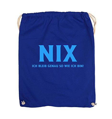 Comedy Bags - NIX ICH BLEIB GENAU SO - Turnbeutel - 37x46cm - Farbe: Schwarz / Silber Royalblau / Blau