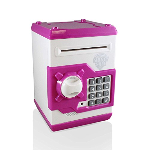 Adornlife Banco de Dinero Electrónico Piggy Money Locker Monedas Cobra Auto Insertar Facturas Safe Box Contraseña ATM Bank Saver, Funky Regalo de Calidad para Niños (Blanco / Rosa)