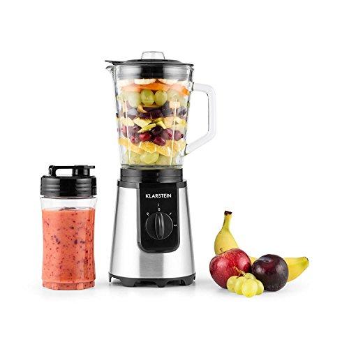 Klarstein Shiva Standmixer Mini Smoothiemaker (350 Watt, 0,8 Liter-Glaskrug, 2 Mixerbecheraus Kunsststoff, BPA-frei, Deckel) schwarz
