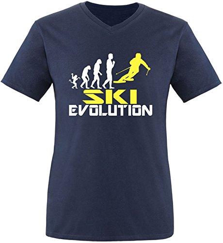 EZYshirt® Ski Evolution Herren V-Neck T-Shirt Navy/Weiss/Gelb