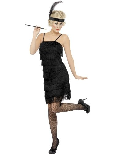Flapper Fringe Kostüme Kleid (Smiffys, Damen Fringe Flapper Kostüm, Kleid und Stirnband mit Feder, Größe: S,)