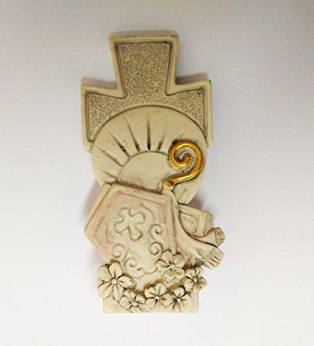 Takestop® set 12 pezzi bomboniera bomboniere croce cresima sacra sacramento simbolo mitria bianco ceramica soprammobile d'appoggio