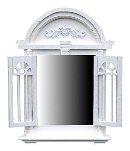 Spiegelfenster Rundbogen mit Fensterläden und kleiner Ablage - aus Holz - im Landhaus Stil - Weiß - 47cm x 63cm (Vintage Fenster)