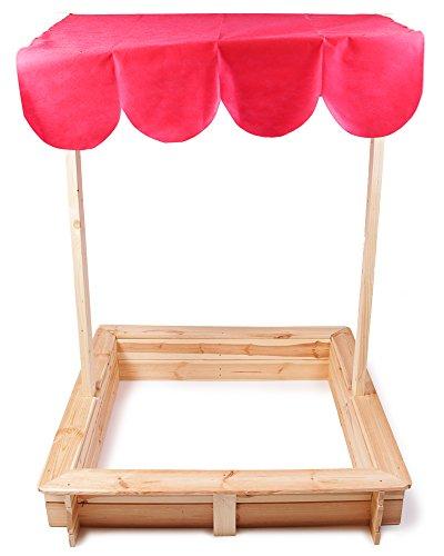 Ondis24 Sandkasten Holz mit Sonnendach Rot Sandkiste Sonnenschutz Sonnenschirm