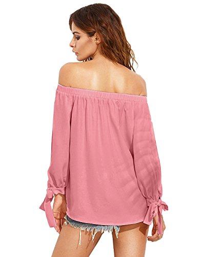 StyleDome Damen Schulterfrei Maxi Lange Ärmel Langarm Chiffon Oberteil Tops  Shirts Rosa