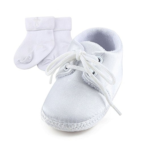 DELEBAO Scarpe per Battesimo o Un Matrimonio Scarpe Primi Passi Bambini  Bianco Sole Bambino Scarpe Stringate b884b9abf1d
