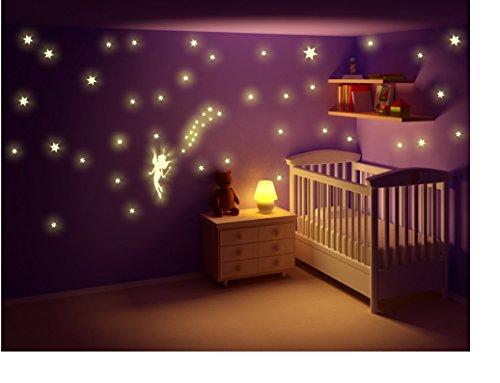Stickerkoenig Kinderzimmer Wandtattoo Leuchtsticker Fee Set klein