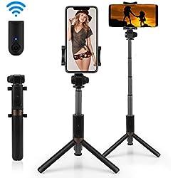 AFAITH Bastone Selfie Bluetooth treppiede con telecomando 2in1 Wireless Selfie Stick rotazione di 360 ° monopiede per iPhone XS XMAX XR, iPhone 8/7/7plus, Samsung Galaxy S9 S9 Plus Android