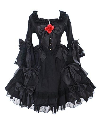 Kawaii-Story JL de 662Inoxidable Manga Larga Volantes Lazos Vestido Negro Victorian Disfraz Gótico Lolita Cosplay