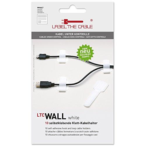 Label-the-cable Kabelhalter selbstklebend mit Klettverschluss, Kabelführung, Kabelbinder, Kabelbefestigung, Kabelschellen (Klett), für Wand und Schreibtisch/ LTC Wall wt, 10 Stück, Weiß, LTC 3120