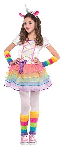 Regenbogenfarbenes Einhorn Kinderkostüm Mädchen (Uk Dress Einhorn Fancy)