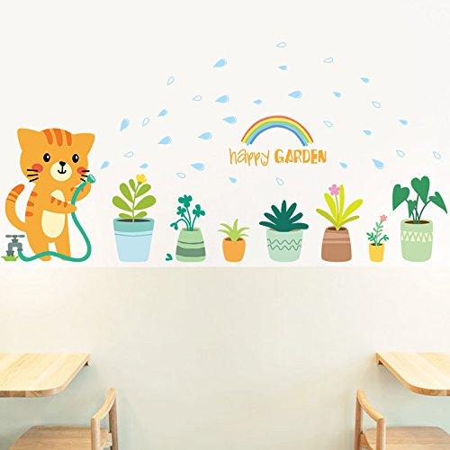 HCCY Die kreative katze wand mount topf glas aufkleber kinderzimmer dekor  selbstklebende tapete schlafzimmer wand tapete 50 * 70 cm